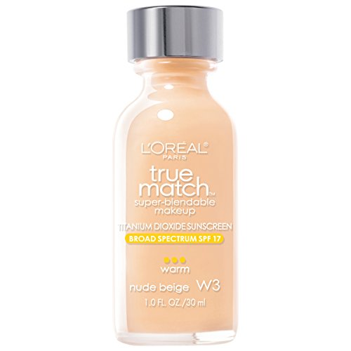 L'Oreal Paris Makeup True Match Super-Blendable Liquid Foundation, Nude Beige W3, 1 fl. oz.