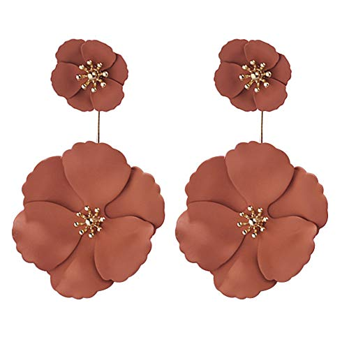 Dual Dangle - fomoisclU Womens Earrings, Fashion Dual Layer Fabric Flower Drop Dangle Ear Stud Earrings Jewelry Decor Valentine's Day/Wedding/Anniversary/Party/Mother's Day/Birthday Presents