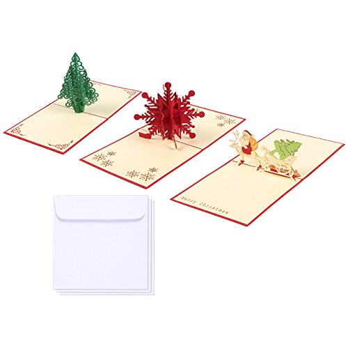 Set of 3 Merry Christmas Greeting Cards - 3D Popup Cards with Snowflake, Santa, Christmas Tree Themes - Includes Envelopes, 4.7 x 4.7 Inches (Cards Stationery Christmas)