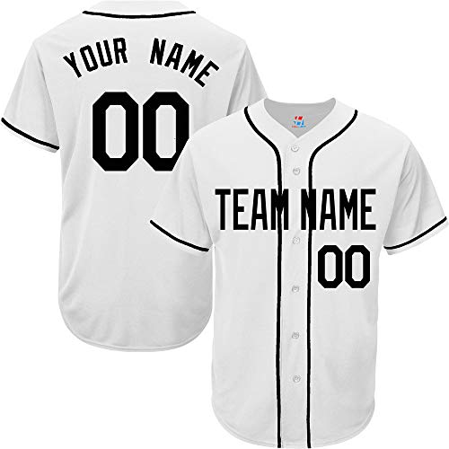 White Customized Baseball Jersey for Women Full Button Stitched Team Player Name & Numbers,Black Size L