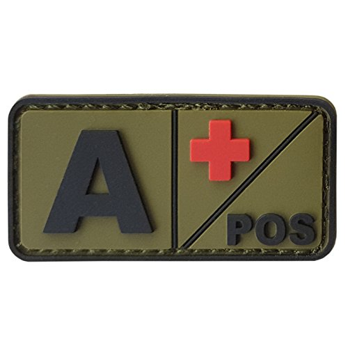 APOS Olive Drab OD Blood Type Morale Tactical PVC Rubber 3D Touch Fastener Patch