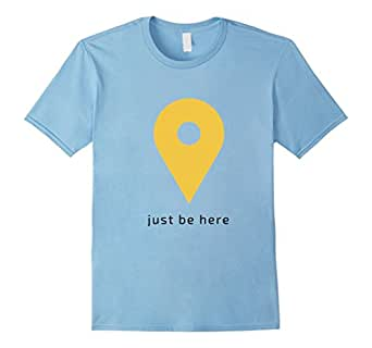 Mens Geotag Just Be Here T-shirt: inspire mindfulness 2XL Baby Blue