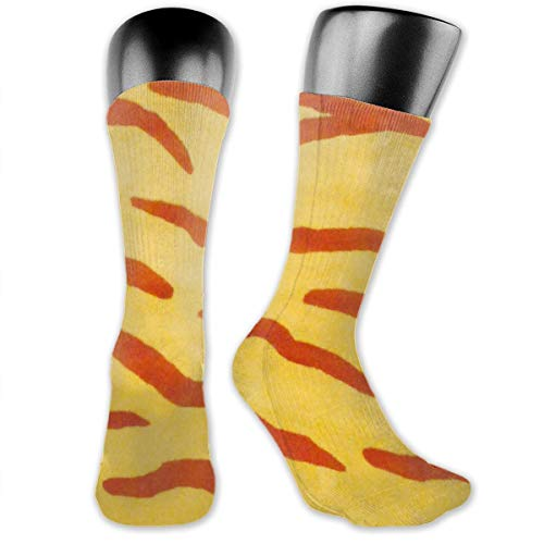 (BRECKSUCH Yellow Zebra Stripe Unisex Compression Socks Sports 3D Printed Stocking Running&Fitness Thich-high Long Length Socks)
