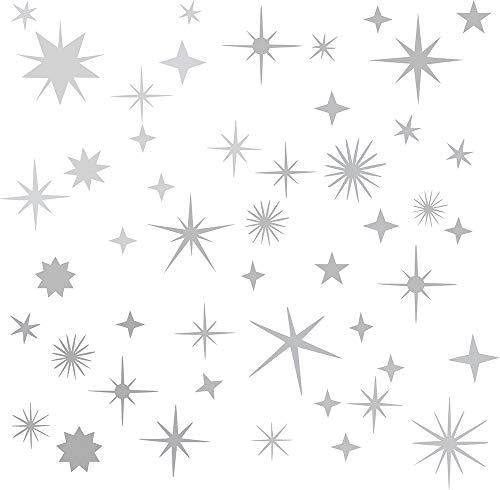 (Easma Sparkle Decals Star Decals, Nursery Wall Decal, Kids Room Decor, Star Wall Decor, Sparkle Wall Art, Baby Room Star Wall Sticker Peel&Stick Removable Decals (Vintage Silver))