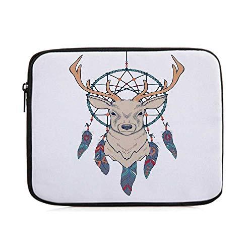 (Deer,Roe Deer with Native American Tribal Dreamcatcher Ethnic Folk Art Style Sketch Decorative,One Size)