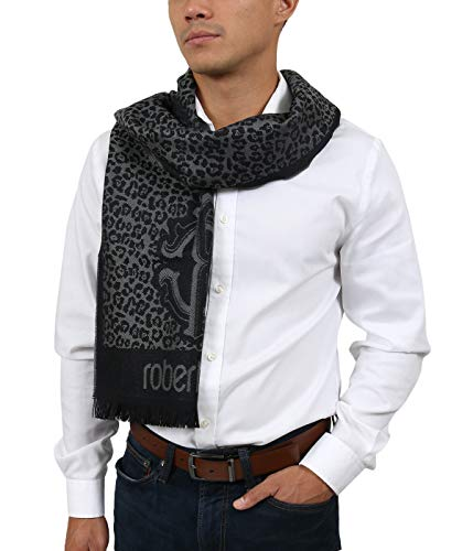 (Roberto Cavalli ESZ056 05001 Grey Wool Blend Leopard Print Mens Scarf for Mens)