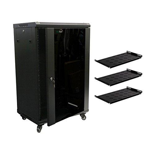NavePoint 18U Wall Mount Network Server Cabinet Rack Glass Door Lock w/Casters and Shelves