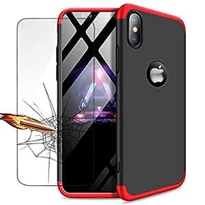 """Funda iPhone XS MAX(6.5"""") Ttimao PC Hard Case [Película de Cristal Templada] Anti-Shock Ultrafino 360 ° Caja Protección Tres en Uno Cubierta Protectora (Rojo Negro)"""