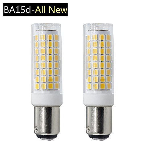 Ba15d Light Bulb,All-NEW 102x2835SMD LED,75W Equivalent Ba15d Double Contact Bayonet Base Halogen Replacement Bulb for Chandelier Crystal Ceiling Lamp Light (7W, Warm White) (Double Contact Ba15d Base)