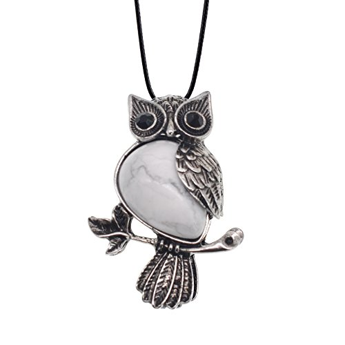 Zhepin Owl Necklace Howlite Natural Healing Stone Necklace about 19 inches Spiritual Energy for Women and Men Pink New Year gift in Gift Box