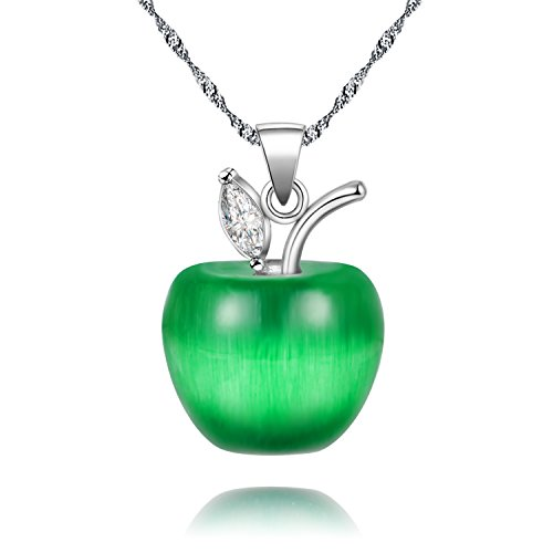 Uloveido Silver Plated Candy Apple Cubic Zirconia Pendant Necklace Jewelry for Women YL007-Necklace-Dark - Dark Plated Silver
