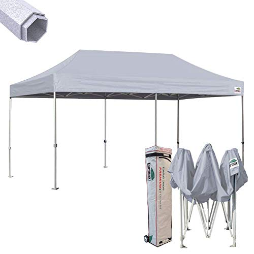 Eurmax Premium 10 x 20 EZ Pop up Canopy Tent Wedding Party Canopies Gazebo Shade Shelter Commercial Grade Bonus Wheeled Bag (Grey)