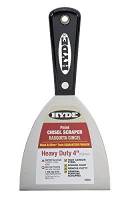 Hyde Tools 02600 4-Inch Xtra Heavy Duty Stiff Chisel Scraper, Black and Silver from Hyde