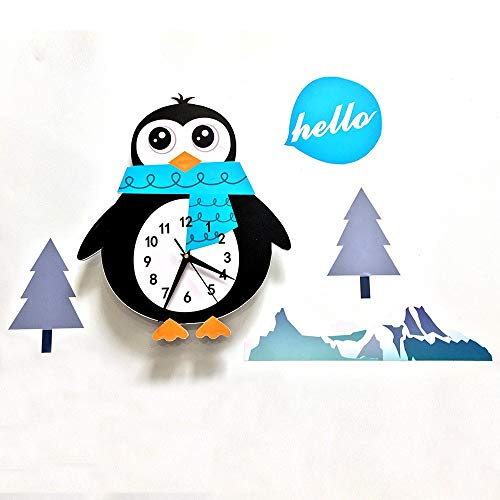 Wall Stickers for Bedroom,New Clock Cute Cartoon Decoration Simple Modern 3D Children Clock Wall Clock Penguin Decorative Wall Stickers SWC001,Wall Stickers