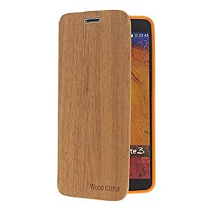 SUMCOM Wood Grain Pattern PU Leather and Plastic Back Cover Pouches for Samsung Galaxy Note3 N9000 , khaki