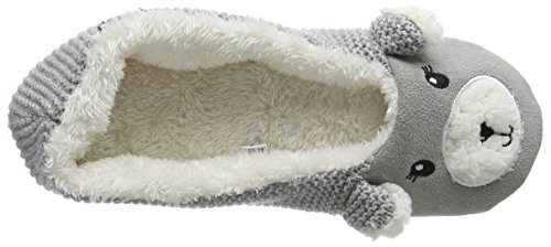 para de Estar Totes Gris por Casa Ladies gris Knit Mujer gris Slipper Novelty Zapatillas Ballet Back Bear 4Sg41