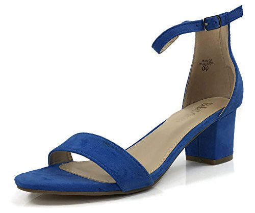 Bella Marie Classified Chunky Block Heel Dress Sandal Over Toe & Ankle Wrap Strap, Blue Suede, 7 ()