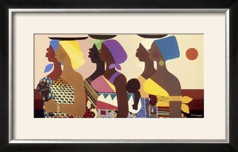Honeywood Finish (ArtEdge African Women by Varnette Honeywood, Size 28W x 18H, Frame is Wood with a Gesso finish)