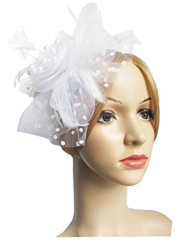 [Flower Cocktail Tea Party Headwear Feather Fascinators Top Hat for Girls and Women (White)] (White Top Hat Fascinator)
