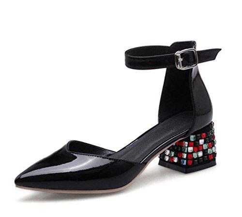 de del de al de Dedo Libre Sandalias Zapatos de Mujeres Aire Bloque pie Sandalias Punta en Verano Talón ZXMXY y Diamantes Primavera de de Las del Boda Zapatos Negro Cristal Imitación Hebilla gXfcx