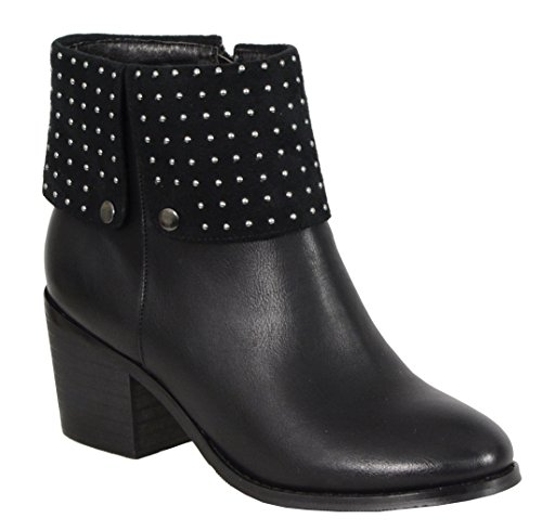 Milwaukee Performance Women's Side Zipper Entry Round Toe Boots with Studs (Black, Size 9)