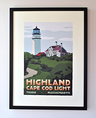 - Highland Cape Cod Light, Massachusetts Framed Print (18x24 Travel Poster, Wall Decor Art)