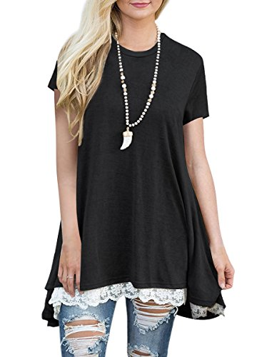 - MBIGM Womens Lace Casual Short Sleeve Tunic Tops Loose Shirt Blouse (Black, Large)
