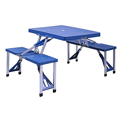 Cypressshop Portable Outdoor Folding Picnic Table Connect 4 Seats Chairs Durable Aluminum Alloy Picnic Camping