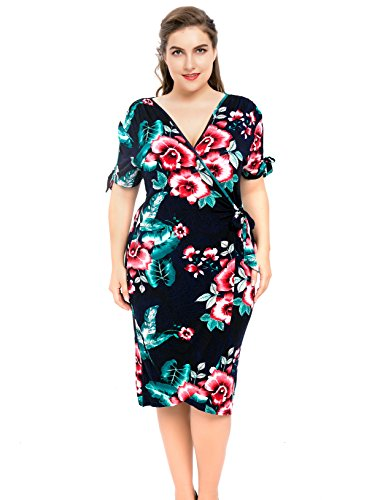 Chicwe Women's Stretch Floral Printed Knit Work and Play Plus Size Wrap Dress Floral Multi 1X