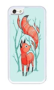Apple Iphone 5C Case,WENJORS Personalized Winter Fox Soft Case Protective Shell Cell Phone Cover For Apple Iphone 5C - TPU White