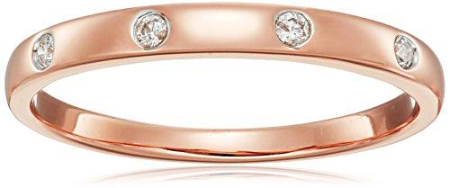 10k Rose Gold Diamond Ring, Size 6.5