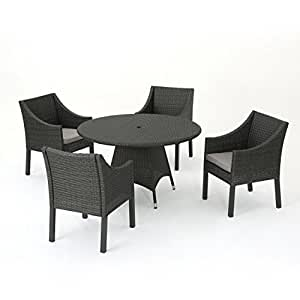 Frances Outdoor 5 Piece Grey Wicker Square Dining Set with Silver Water Resistant Cushions