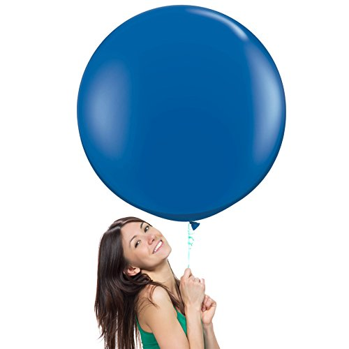 Hours Round Sapphire - 36 Inch (3 ft) Giant Jumbo Latex Balloons (Premium Helium Quality), Pack of 3, Round Shape - Sapphire Blue, for Photo Shoot/Birthday/Wedding Party/Festival/Event/Carnival