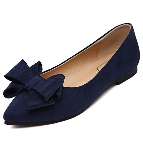A-LING Women's Comfortable Bow Point Toe Flat Pumps Slip On Shoes (Dark Blue Suede-6 M US) -