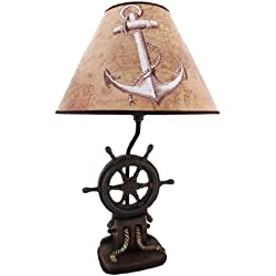 Resin Table Lamps `Captain`S Destiny` Ship`S Wheel Table Lamp 12 X 19 X 12 Inches Brown