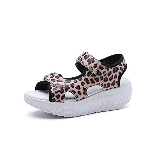 Schuhe dicke Weich neue 1 XING Sandalen Casual Lin 1704 Studenten Shakes bequeme Slope Damen Leopard Sommer unten unten weiblich Sandalen mit Fan wZw8UqICR