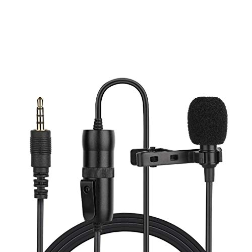 Hockus Accessories Hands-Free Wired Clip Collar Microphone for Smartphone Camera Clip-on Lapel for Lectures Recording Microphone Parts- US