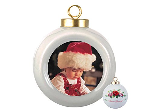 RitzPix Customizable Porcelain Ornament With Hanging String - Perfect Personalized Gift with Custom Image or Text - Choose Round, Doily or Snowflake