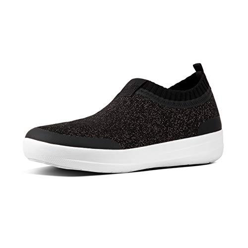 On Slip Bronze (FitFlop Women's Uberknit Slip-On Sneakers Black/Bronze Metallic 9)