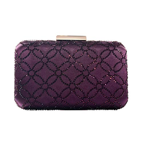 DMIX Womens Large Satin Silk Hard Case Box Clutch Crystal Evening Bags Purple (Dmix Case)