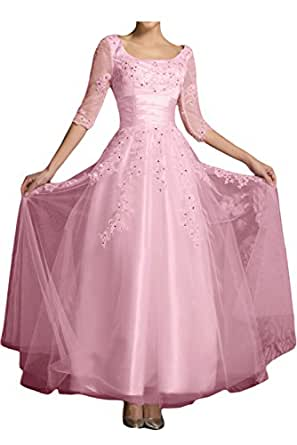 DressyMe Women's Charming Wedding Anniverary Dress 1/2 Sleeves Ankle-Length Lace-17W-Pink