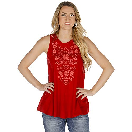 (Roper Women's 2424 Solid Rayon Challis Tank Red X-Large)