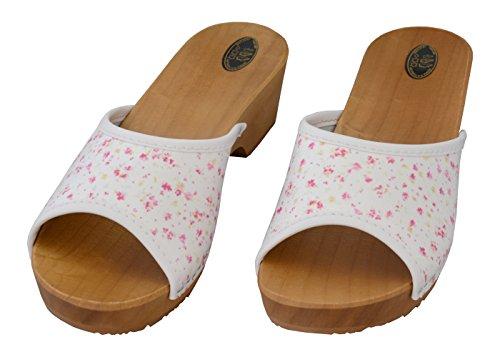 Tacones 35 Rosadas Zuecos 41 Zapatos Sanitarios Estorbos Cuero Dedos BeComfy Abiertos para Mujeres Madera Flores IqwPU4