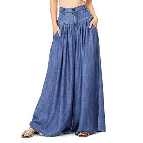 Pantalone Baggy Ragazze Pantaloni Tempo Donna High Eleganti Moda Pantaloni Plus Sciolto Blau Estivi Aladin Harem Libero Waist Prodotto Larghi Pantaloni Hippie Monocromo Giovane Pantaloni PaPAqw5