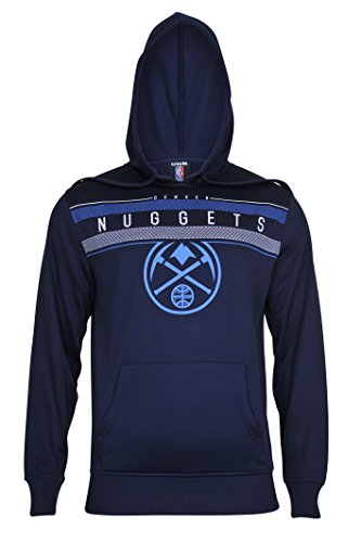 fan products of NBA Men's Denver Nuggets Fleece Hoodie Pullover Sweatshirt Poly Midtown, Medium, Navy