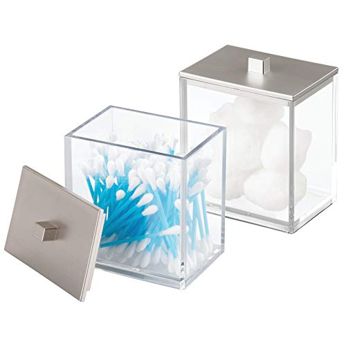 mDesign Modern Square Bathroom Vanity Countertop Storage Organizer Canister Jar for Cotton Swabs, Rounds, Balls, Makeup Sponges, Beauty Blenders, Bath Salts – 2 Pack, Clear/Brushed Lid