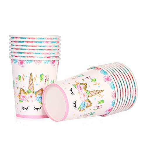 Unicorn Themed Party Supplies - Unicorn Paper Cups | 9 oz, Disposable | Magical Unicorn Birthday Party Decorations for Girls and Baby Shower - Set 16]()