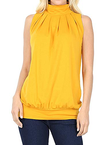 The Lovely Women Sleeveless Mock-Turtleneck Pleated Top with Waistband (Dark Mustard, L)