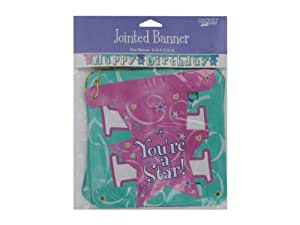 New - girl time happy birthday jointed banner 9.25 foot - Case of 72 - KI836-72