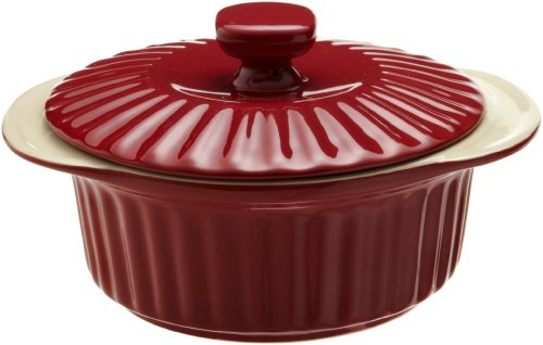 Good Cook 1.5 Quart Ceramic Covered Casserole, Red